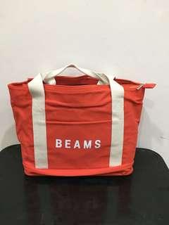 🚚 BEAMS x 7-ELEVEN可折疊帆布托特包「橘」