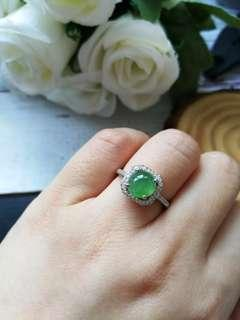 🚚 Reserved $138 Sales Type A Grade A Natural Jadeite Jade Fei Cui 925 Silver White Gold Plated Ring
