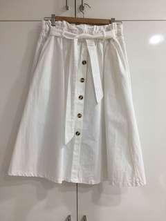 White Button Down Midi Skirt