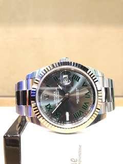 "Brand New Rolex Oyster Datejust 41 126334 ""Wimbledon"" Slate Grey Dial Automatic Steel Casing Bracelet"