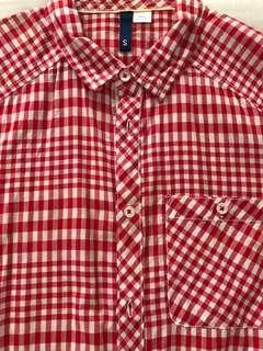 H&M red white check shirt