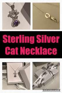 Sterling Silver Amethyst Cat Necklace