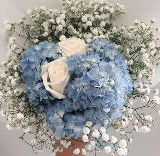Hydrangea bouquet with white roses