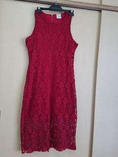 🚚 Dark Red Lace Dress - size 10