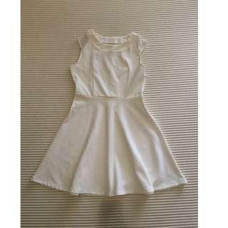 Off-white sleeveless skater dress with lace shoulder