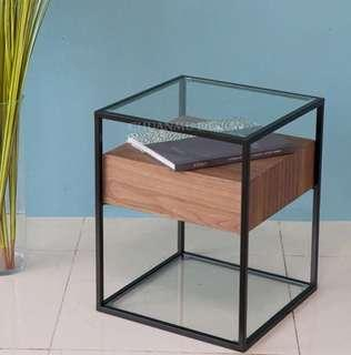 NIELSON Mixed Element Wood and Glass Side Table