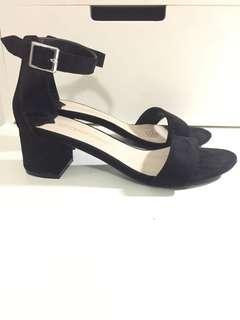 Black low block heels