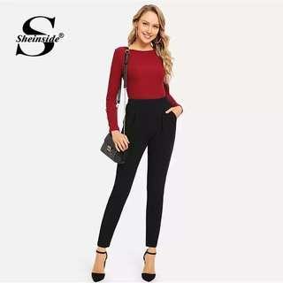 Office classic black pants - elastic size L