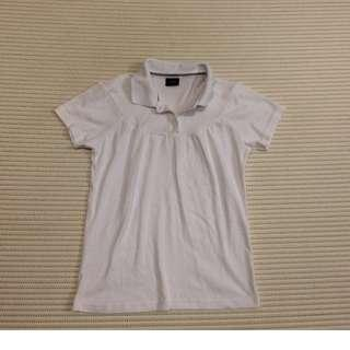Nicole Basic White collar polo T-shirt with floral button