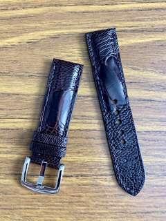 🚚 22mm/20mm Dark Pecan Brown Ostrich Leg Watch Strap