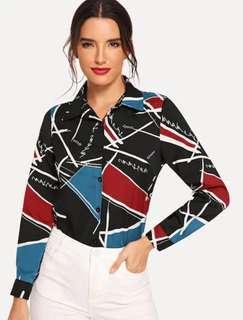 NEW Colorblock Single Blouse size S Black Kemeja Zara top zig zag geometry geometries shirt top women baju kantor formal