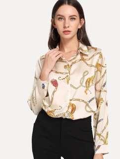 NEW Single Breasted Graphic Print Blouse Printed Top Beige Cream women shirt size M kemeja wanita