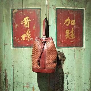 復古全皮編織肩背水桶包 古著圓桶包