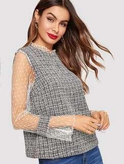 NEW Dot Mesh Sleeve Keyhole Back Tweed Top size S atasan wanita abu transparan grey blouse gray blus