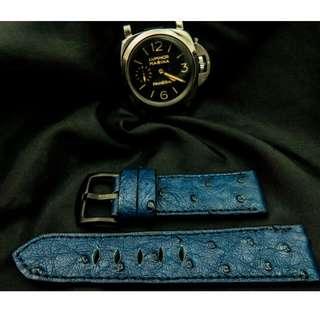 🚚 Genuine Ostrich Leather Strap (blue, 22mm)