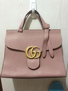 Gucci GG logo 藕粉色 粉紅色 手提袋 單肩袋 荔枝紋