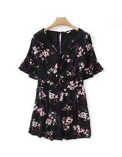 Black Floral Print Romper / Jumpsuit