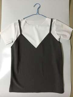 2-Piece Ribbed Grey Mauve Top