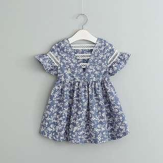 🚚 Blue Floral Print Ruffle Sleeve Dress for Little Girl (NCD 022)