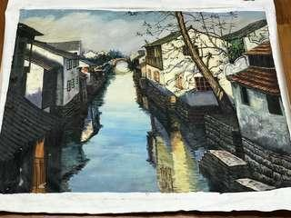 Chinese oil painting- 胡同 (without frame)