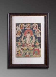 清 天然礦物彩繪四臂觀音唐卡Antique Thangka