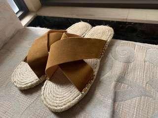🚚 全新 麻料拖鞋