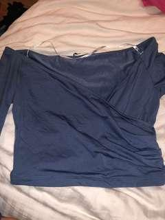 Kookai off shoulder blue longsleeve crop size 1