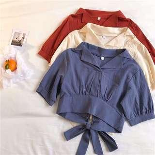 🚚 [PO] collared back bow top