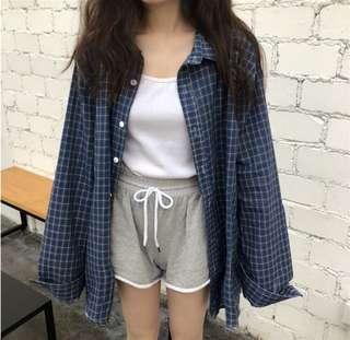 Plaid Checkered Outerwear Blue / Red