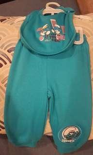 Smurfs baby bib and pants