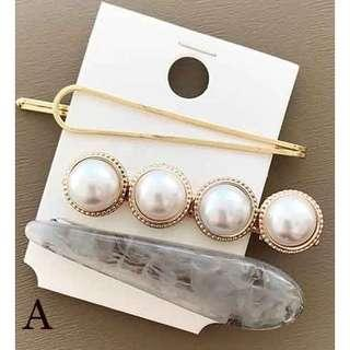 Brand New Pearl Gold Metal Marble Hairpin Hairclip 3pc Set