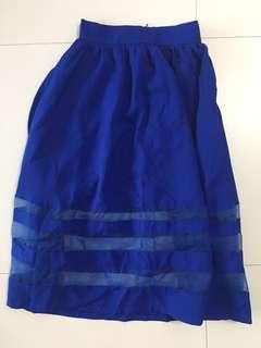 Mix Material Long Skirt
