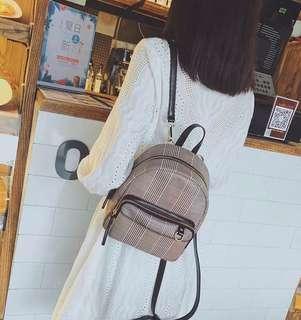 Ladies Small Checkered Pattern/ Printed Backpack/ Shoulder Bag