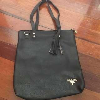 Black Prada overrun tote bag