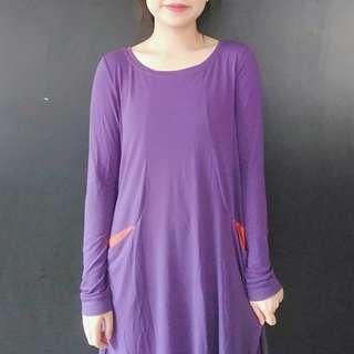 🚚 (免運)a la sha紫色剪裁洋裝