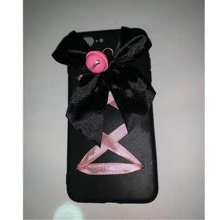 🚚 Iphone 8 plus case - black with ribbon