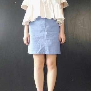 🚚 (免運)蔚藍色直筒短裙