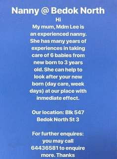 An experienced Chinese Baby Sitter/Nanny at bedok north st 3!