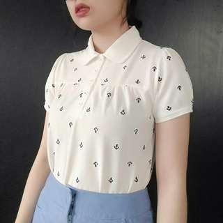 🚚 (免運)可愛娃娃海軍刺繡polo衫上衣