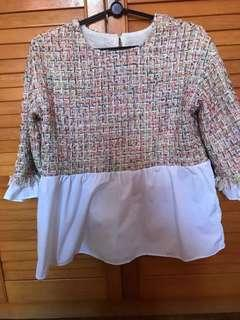 🚚 Multi coloured knitted peplum Long sleeve TOP blouse babydoll dolly muslimah fashion