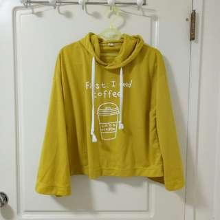 🚚 芥末黃寬袖連帽上衣 帽T 運動風女孩 #半價衣服市集