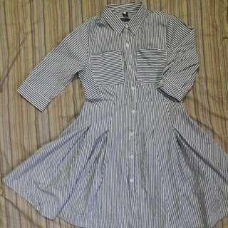 Korean Button down Polo Stripes Dress