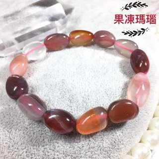 🚚 【粉潤糖果】天然隨形果凍瑪瑙手串手鍊 /糖果瑪瑙手鍊。佛教七寶石之一。撫平情緒&平安 /ㄧ物一拍 <SA05>