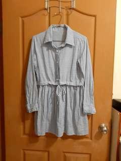 🚚 藍色條紋洋裝