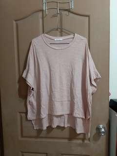 🚚 粉色前短後長上衣