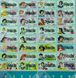 🚚 Disney Princess Small Name Stickers