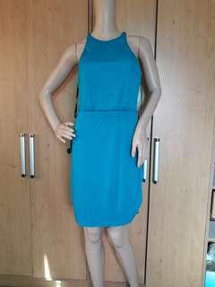 Bebe sexy back blue dress