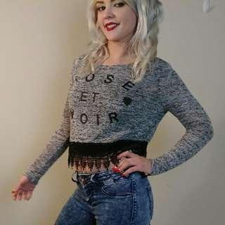 H&M rose et noir knitted cropped sweater