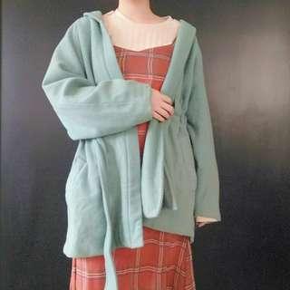 🚚 (免運)綠色綁帶古著外套