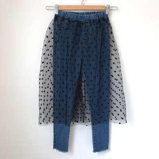 *NEW* Girls voile skirt denim leggings size 7